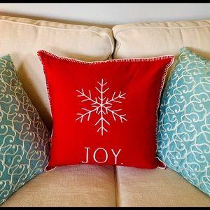 "Raw Dunn Christmas ""JOY"" Pillow NWT"
